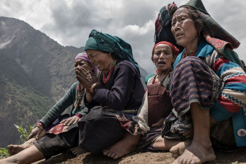 Moments after a 7.3 magnitude earthquake struck Nepal on May 12, 2015, at Gumba village. (Pong Suracheth)