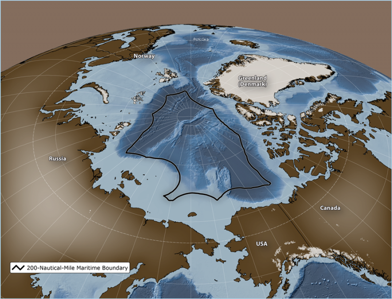 The Central Arctic Ocean is a 2.8 million square kilometer area (1.08 million square miles) of international waters that lie beyond the 200 nautical mile boundary. (The Pew Charitable Trusts)