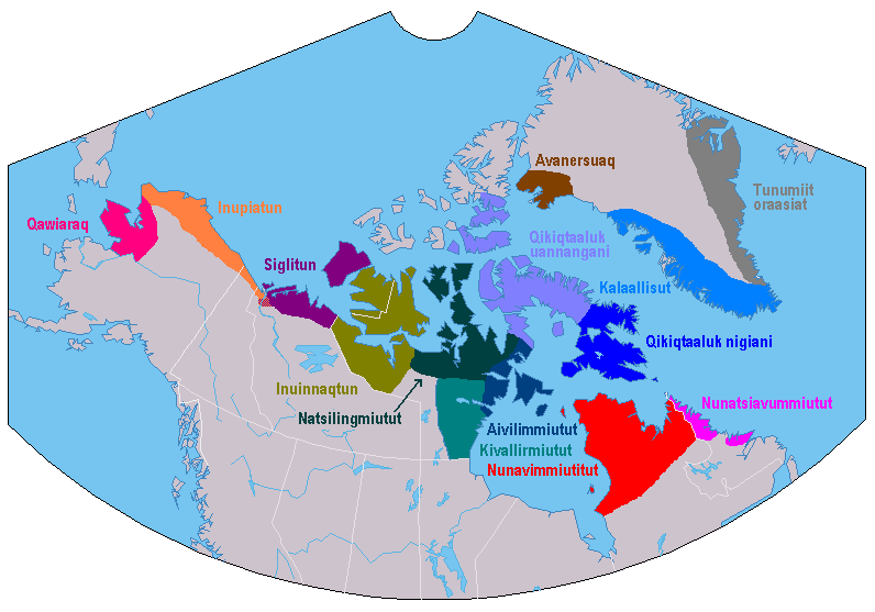 Inuktitut dialect map with labels in Inuktitut inuujingajut or local Roman alphabet. (Wikimedia Commons/Asybaris01)