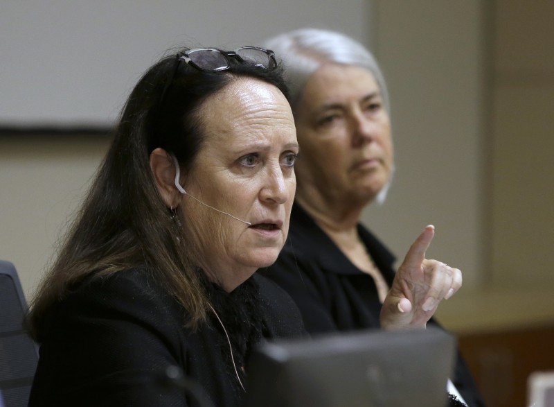 Felicia Marcus, chairperson of the California Water Resources Control Board, discusses a proposal to drop a mandate requiring water conservation in the state's fifth year of the drought, during a hearing May 18, 2016, in Sacramento, Calif. The board voted in favor of giving local water districts control of setting their own conservation targets. (Rich Pedroncelli, AP)