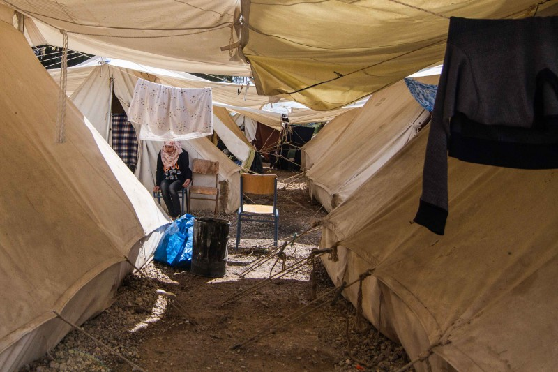 Ritsona camp is home to around 650 people. Despite being a state-run camp, residents live in tents with minimal facilities. (John Owens)
