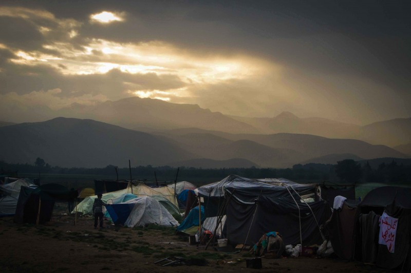 Idomeni camp, on the Greek side of the border with Macedonia. More than 50,000 have been trapped in Greece since Macedonia closed its border in March. (John Owens)