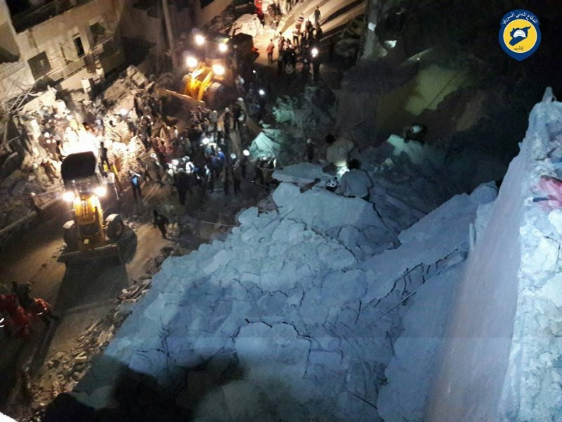 Workers from the White Helmets and locals begin a rescue operation following Russian airstrikes that hit a hospital in Idlib city, Idlib province, on May 31, 2016. (Syria Civil Defense)