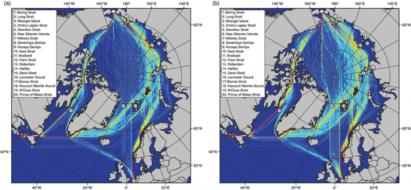 Maps chart the projected average least-cost navigation routes from Rotterdam, the Netherlands and Halifax, Nova Scotia, to the Bering Strait by open-water vessels for early-century (2011–35) and mid-century (2036–60). (Scott Stephenson)
