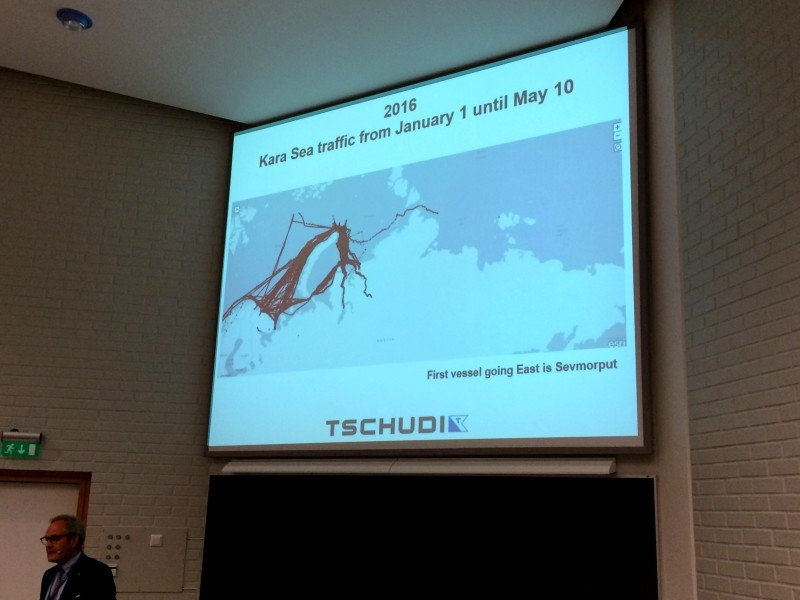 Felix Tschudi, chairman and owner of the Oslo-based shipping and investment company Tschudi Group, makes a presentation on Arctic shipping traffic in the Kara Sea from January 1 to May 10, 2016. Note the lack of transit traffic but significant destinational traffic. (Malte Humpert)