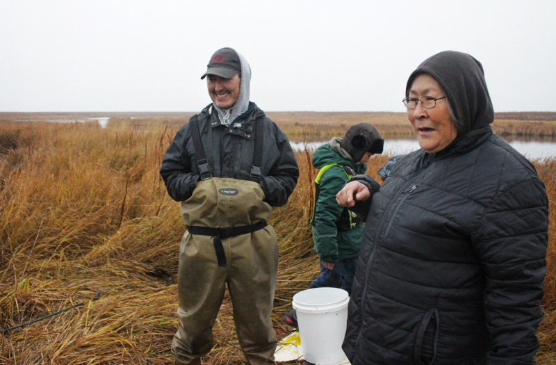 The John family, like most families in Newtok, still relies on food hunted on or gathered from the tundra. (Madeline Ostrander)