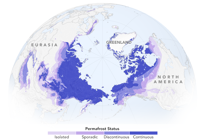 Continuous permafrost refers to areas where frozen soil underlies more than 90 percent of the surface. Discontinuous permafrost occurs in slightly warmer areas, where frozen soils underlie 50–90 percent of the surface. In areas with sporadic permafrost, frozen soils underlie 10–50 percent of the surface. And in areas with isolated permafrost, frozen soils underlie less than 10 percent of the surface, usually only occurring in depressions or north-facing slopes. (NASA Earth Observatory/Joshua Stevens)