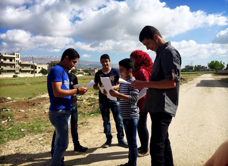 The actors – Syrian refugees living in the Bekaa Valley, Lebanon – read scripts that relay their own stories. (The Caravan)