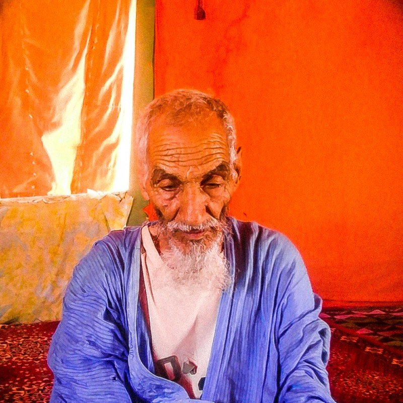 84-year-old Argeibi Sidahmed fled his home in the Western Sahara four decades ago and awaits a return. (Habib Mohaed)