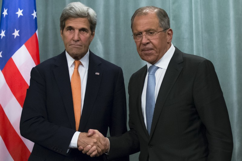 U.S. Secretary of State John Kerry, left, and Russian foreign minister Sergey Lavrov shake hands at a news conference following long talks in Moscow, Russia, Friday, July 15, 2016. (AP/Alexander Zemlianichenko)