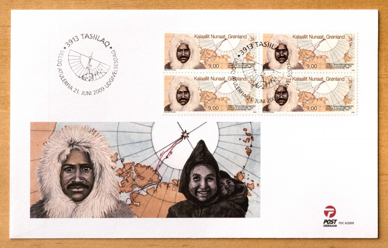 This first-day cover includes an image of Akatingwah carrying Anaukaq, the son she had with Matthew Henson. (POST Greenland)