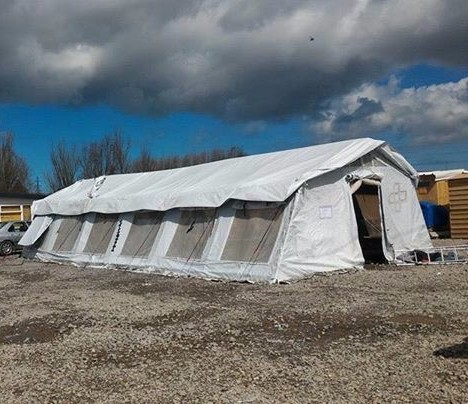 The Edlumino school tent at the refugee camp in La Liniere, France. (Edlumino)