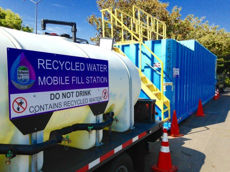 Redwood City has supplied 524,000 gallons (2 million liters) through its Recycled Water Mobile Fill Station. (Redwood City)