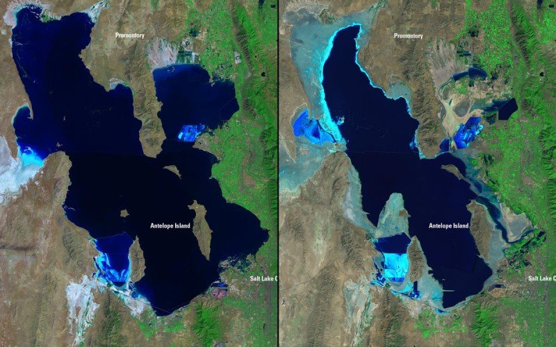 This satellite image illustrates how Great Salt Lake has shrunk due to water diversions and drought from 1985, on the left, to 2010, right. Additional water diversions proposed as part of the Bear River Development Project could shrink the lake further. (U.S. Geological Survey)