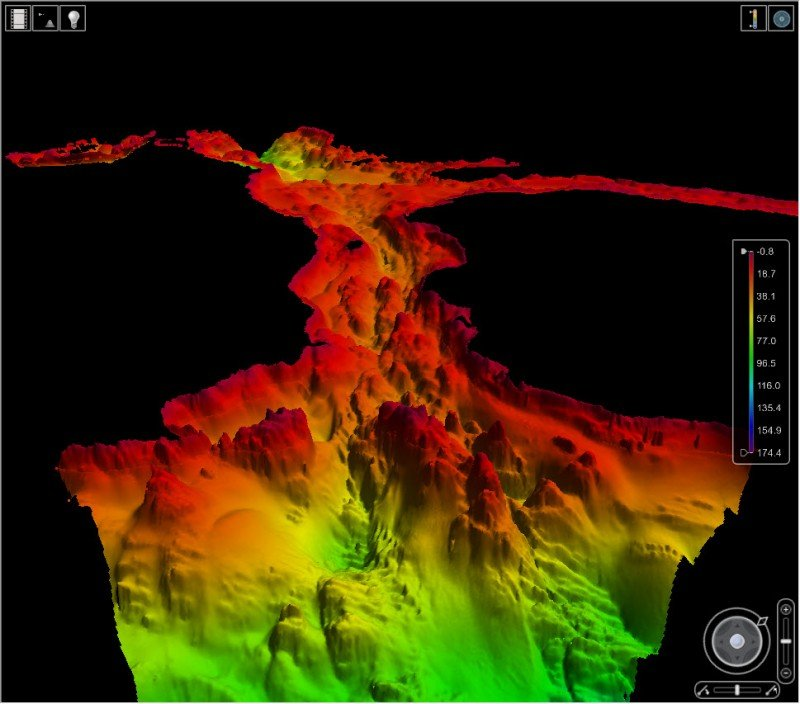 This digital map of the seafloor of Whale Passage (off Kodiak) is generated using the depth soundings of a multibeam echo sounder. NOAA Ship Rainier acquired the depth soundings in 2014. (NOAA)