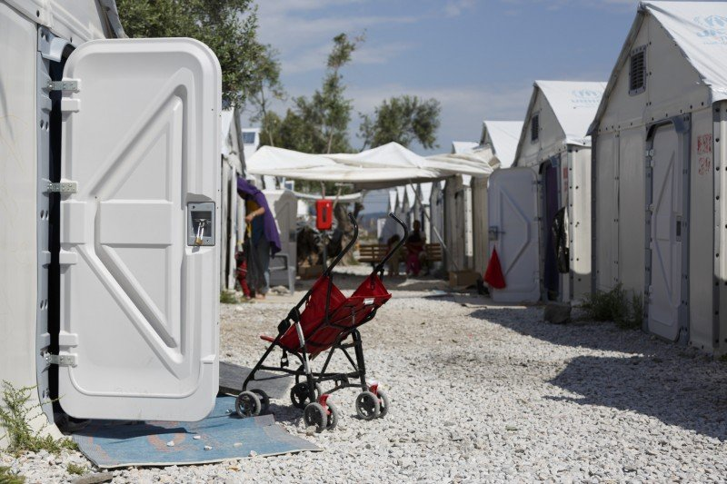 A stroller seen at Kara Tepe camp in Lesbos, Greece. Since the E.U.-Turkey agreement came into effect, procedures for processing arrivals into Greece have been unclear and little information has been shared. (OXFAM)