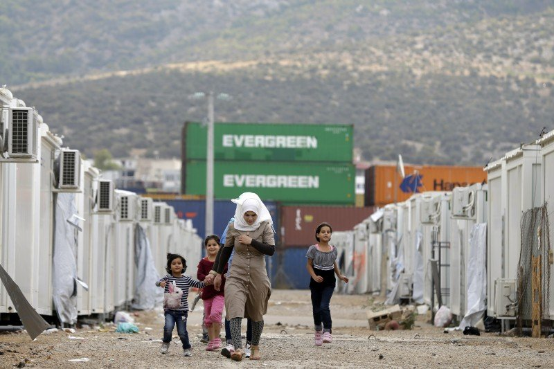 A refugee camp in the western Athens' suburb of Skaramagas on Aug. 25, 2016. (AP/Thanassis Stavrakis)