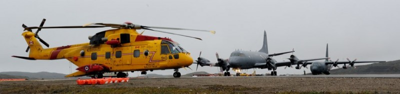 Aircraft are parked at Iqaluit Airport on Baffin Island, Nunavut, during Operation Nanook 2014. CREDIT: CND-MDN Canada/Master Corporal Johanie Maheu