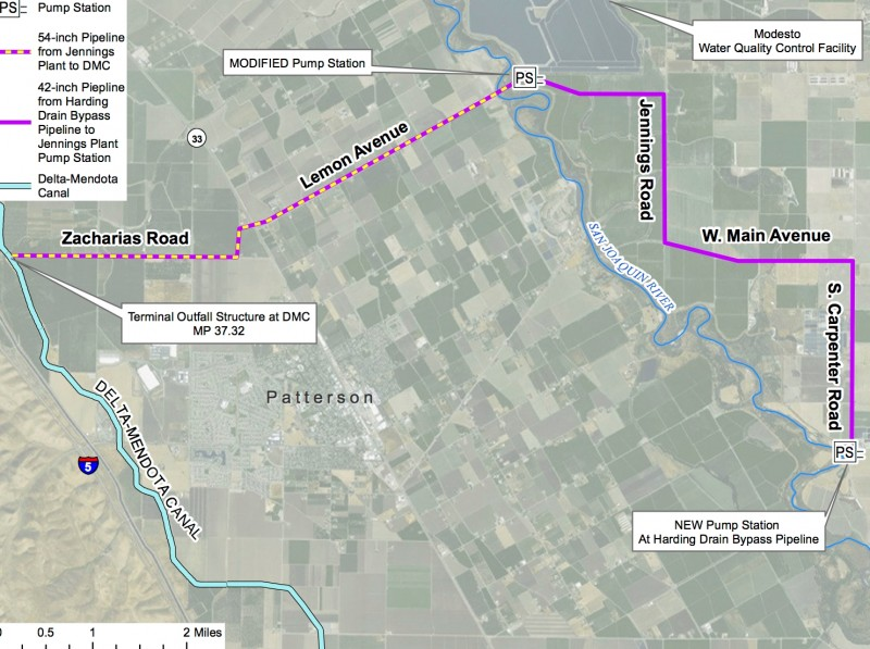 A schematic of new pipelines and pump stations proposed as part of the North Valley Regional Recycled Water Program. (Del Puerto Water District)