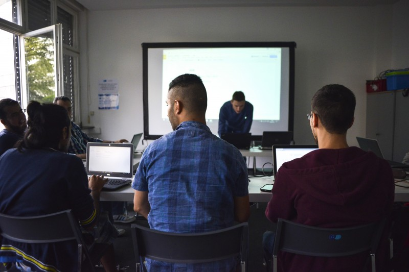 Digital education is not just for young children. The ReDI school also provides refugees in their 20s with an opportunity to learn database programming and app development. (Greg Beals)