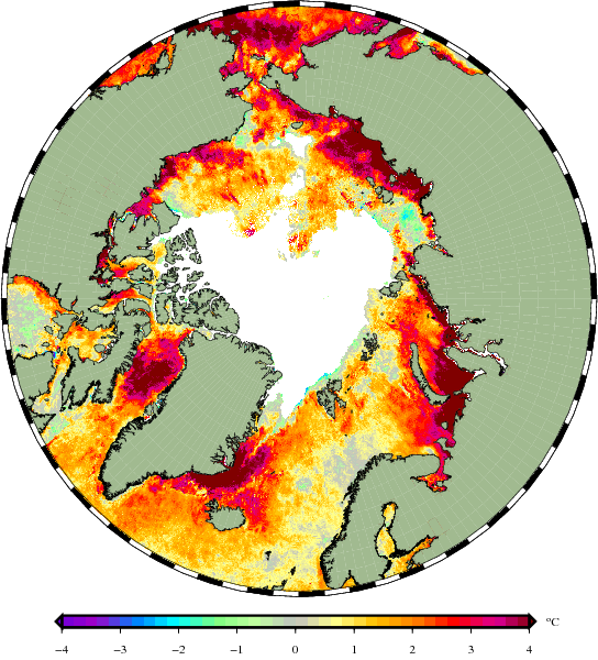 The sea surface temperatures in the ice-free Arctic Oceans were as much as 4C (7.6F) above normal in early Sept. 2016. (Jacob Høyer, DMI)