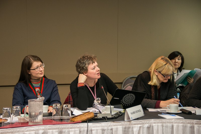 The Saami Council delegation and the Norwegian delegate at the Sustainable Development Working Group Meeting in Yellowknife, Northwest Territories, in March 2014. (Arctic Council, CC BY-NC-ND 2.0)