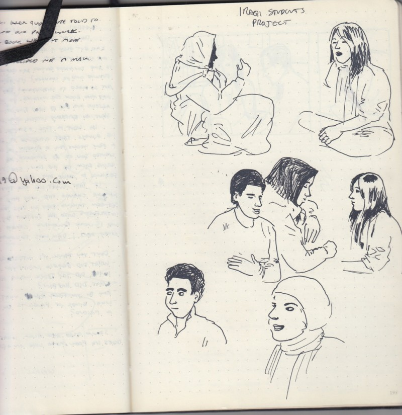Sketches of students from the Iraqi Student Project, a nonprofit that prepares Iraqi students for undergraduate study in the United States. (Courtesy of Sarah Glidden)