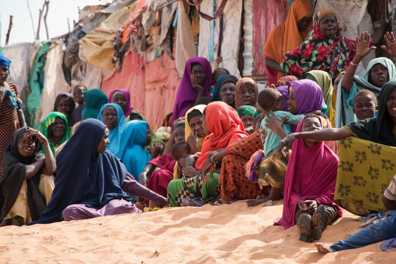 Women and children are stranded in the makeshift camps outside Kismayo, with little information of the type of help they can expect in rebuilding their lives. (Ashley Hamer)