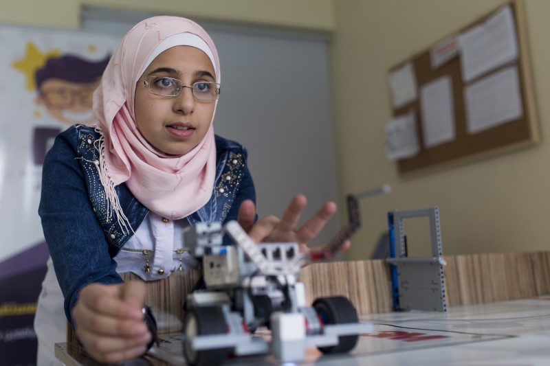 Ethar Kassab, 15, from Aleppo, is in 10th grade and attends a Syrian school in Gaziantep. After school, she attends a club run by a group of Syrian engineers and physics teachers that teaches children how to operate and program robots. (Rosie Thompson/ Theirworld)