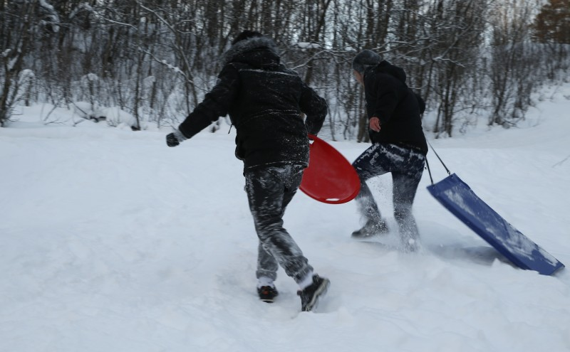 """Afghan children who came to Europe as """"unaccompanied minors"""" pull sleds up a small hill in northern Norway. In Norway and Sweden, about one in five asylum seekers in 2015 was a minor traveling alone. (AP/Alastair Grant)"""