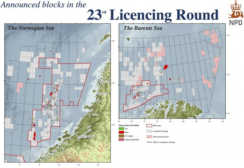 A map of the blocks announced for Norway's 23rd licensing round. (Norwegian Petroleum Directorate)