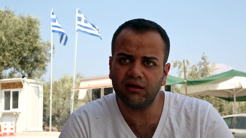 """Ramy Qudmany, from Syria, was among the survivors of the boat that capsized, close to the coast of Lesbos, claiming the lives of a young family of four. Haunted by images of the sinking ship, he says he feels trapped by an """"unfair"""" asylum system that is treating refugees of conflict the same as other migrants. (Iason Athanasiadis)"""