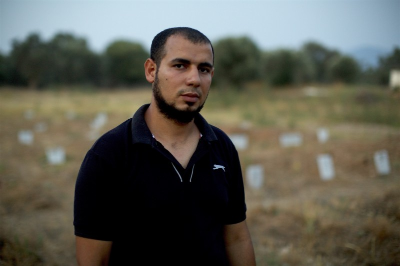 Mustafa Dawa has been working as an undertaker in Lesbos, burying the dead bodies of Muslim refugees who perished at sea. (Iason Athanasiadis)