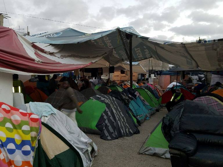 Makeshift camps with Haitian asylum seekers at the U.S.-Mexico border. (Sam Jean-Francois)