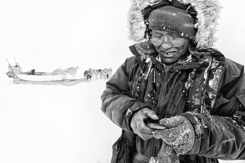 An older hunter is trying to catch a mobile signal to call home from a hunting trip on the sea ice in Eastern Greenland. His dog sled is in the background. (Carsten Egevang)