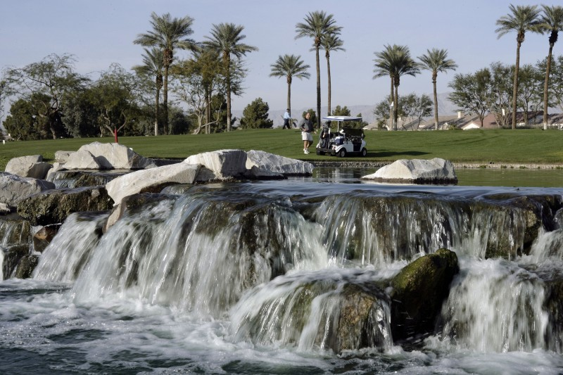 The 36-hole Mountain Vista golf course in Palm Desert features expansive greens and lush water features. A 2007 study by the U.S. Geological Survey showed that the entire Coachella Valley, including Palm Springs, Palm Desert and Indian Wells, had sunk by as much as a foot in some places due to groundwater overdraft. The Agua Caliente tribe now wants a role in managing the region's groundwater. (Ric Francis, Associated Press)