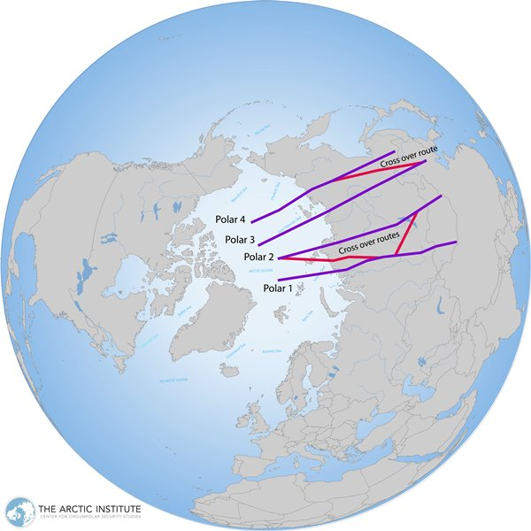 Four polar routes cross the Arctic into Russian airspace, providing shortcuts between North America and Asia. (The Arctic Institute/Based on information from Boeing)