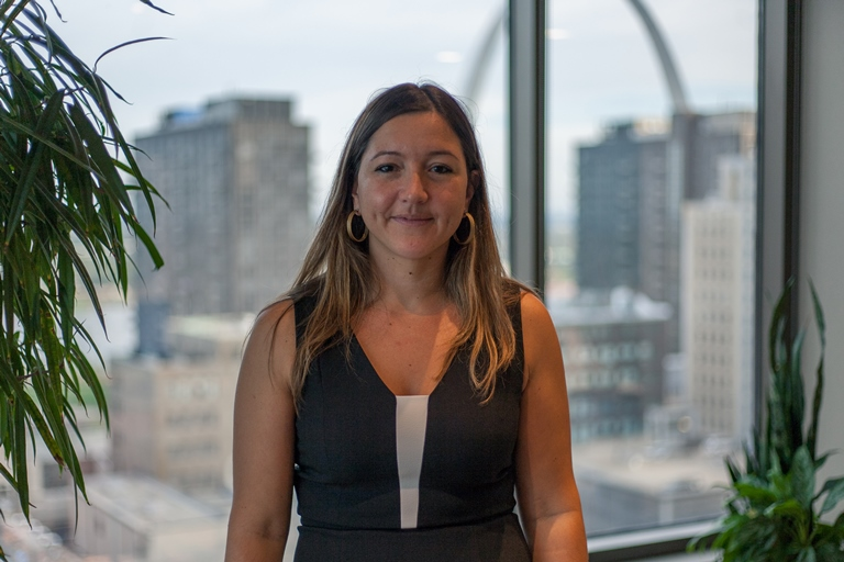 Narcisa Przulj Symank, from Sarajevo, Bosnia, a lawyer at a St. Louis-based firm, is one example of the clout that resettled Bosnians carry. (Nathan Parker).