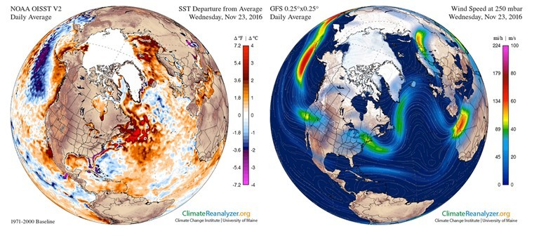 Water temperature anomaly in the Arctic on November 23rd (left). A wavier jet stream pattern on November 23rd brings warmer air into the Arctic. (Climate Change Institute/University of Maine)