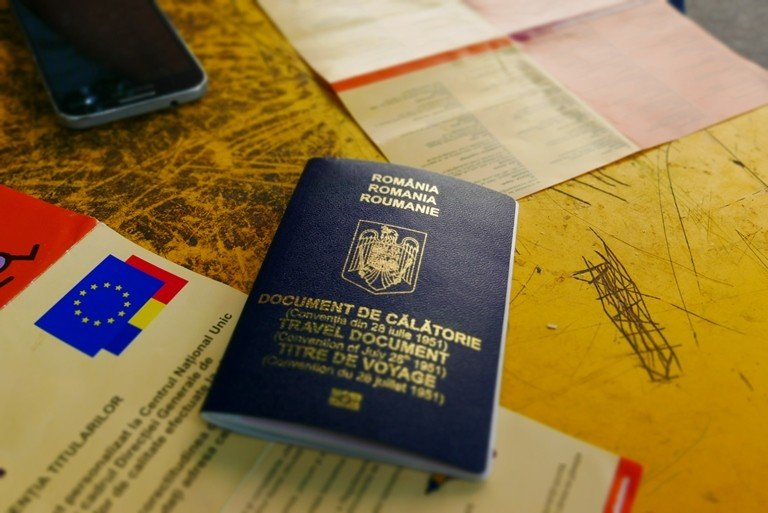 The Romanian travel document given to Salama and other relocated refugees. (Frederik Johannisson)