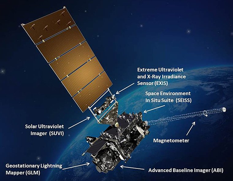 An image of the GOES-R weather satellite, which was successfully launched from Cape Canaveral, Fla., on Saturday, Nov. 19, 2016. In addition to offering much higher resolution weather imagery, the satellite is bristling with sensors that provide new prediction capabilities. (NOAA)