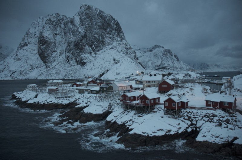 The fishing village of Reine, in the Lofoten Islands, Norway, January 2013. Bennett argues that when it comes to development, renewable projects that directly benefit local communities should be given priority. (Mia Bennett)