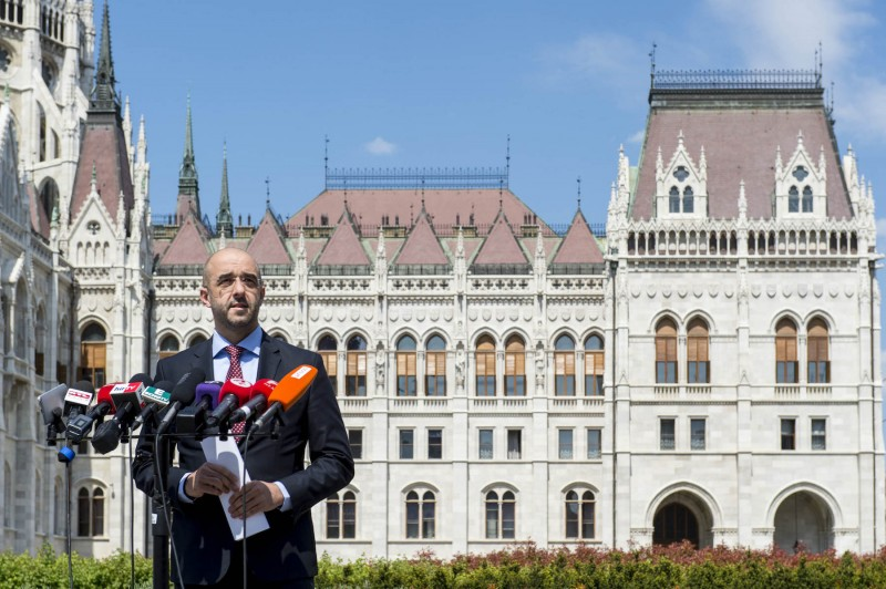 Hungarian spokesman Zoltan Kovacs outside the national parliament. (Hungarian state)