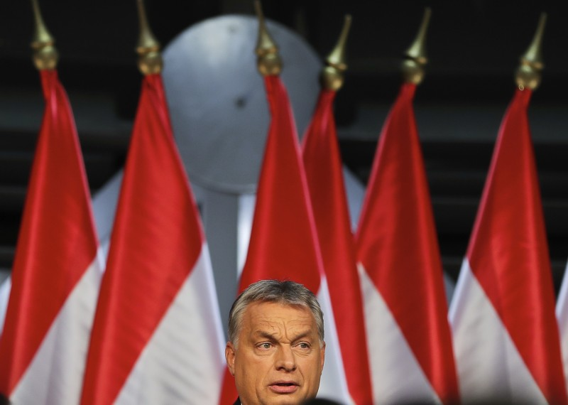 Hungarian premier Viktor Orban looks at supporters before delivering a speech. (AP/Vadim Ghirda)