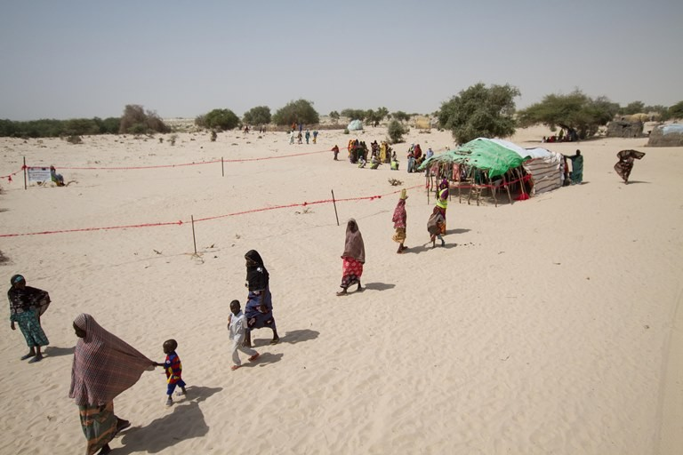 "Refugees stranded in the ""red zone"" near Chad's border with Niger. (Ashley Hamer)"