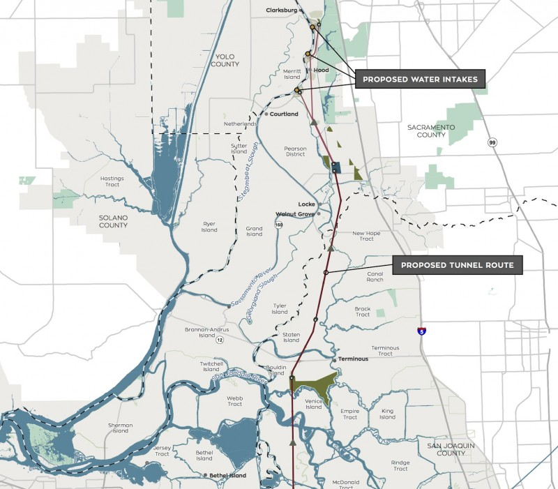 This map of the California WaterFix project shows part of the route for the proposed twin water diversion tunnels across the Sacramento-San Joaquin Delta, along with intakes and some other facilities. (California WaterFix)