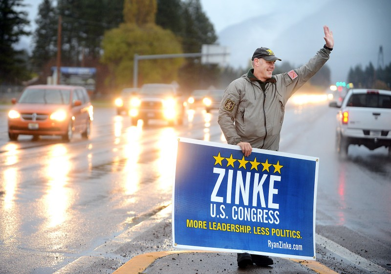 Republican congressman Ryan Zinke, shown campaigning in Columbia Falls, Mont., in 2014, is Donald Trump's choice to lead the Interior Department, an agency with broad responsibility over water issues, endangered species and public lands. Zinke has acted as a congressman to shortcut environmental regulations. (Brenda Ahearn via Associated Press)