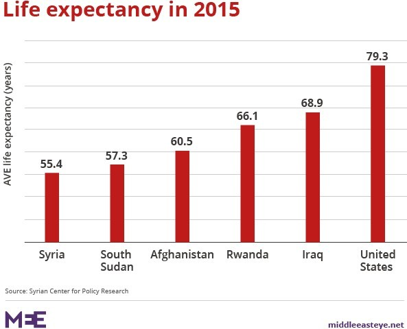 Life expectancy in 2015 across several countries. (Middle East Eye)
