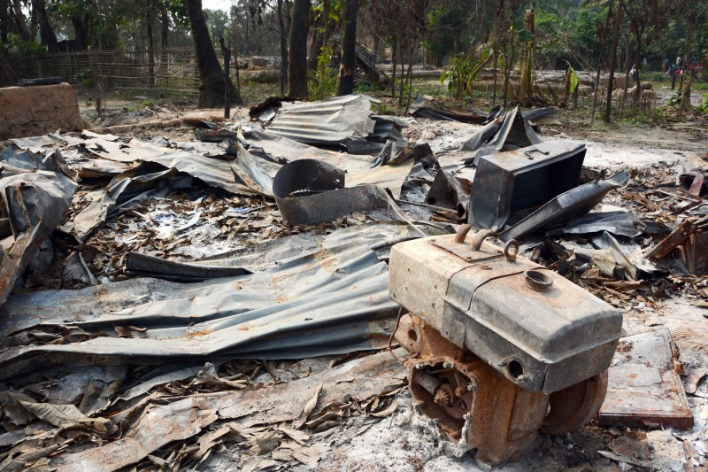 A burned-out village of Rohingya Muslims in the western Myanmar in December 2016. In response to the criticism over persecution of the minority group, the Myanmar government allowed some news organizations to visit the conflict zone. (Kyodo)