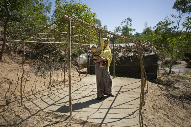 Fatema Begum came to Bangladesh from Careypara village in Myanmar four days ago. When the military attacked her village, she lost track of her husband and now does not know if he is still alive.